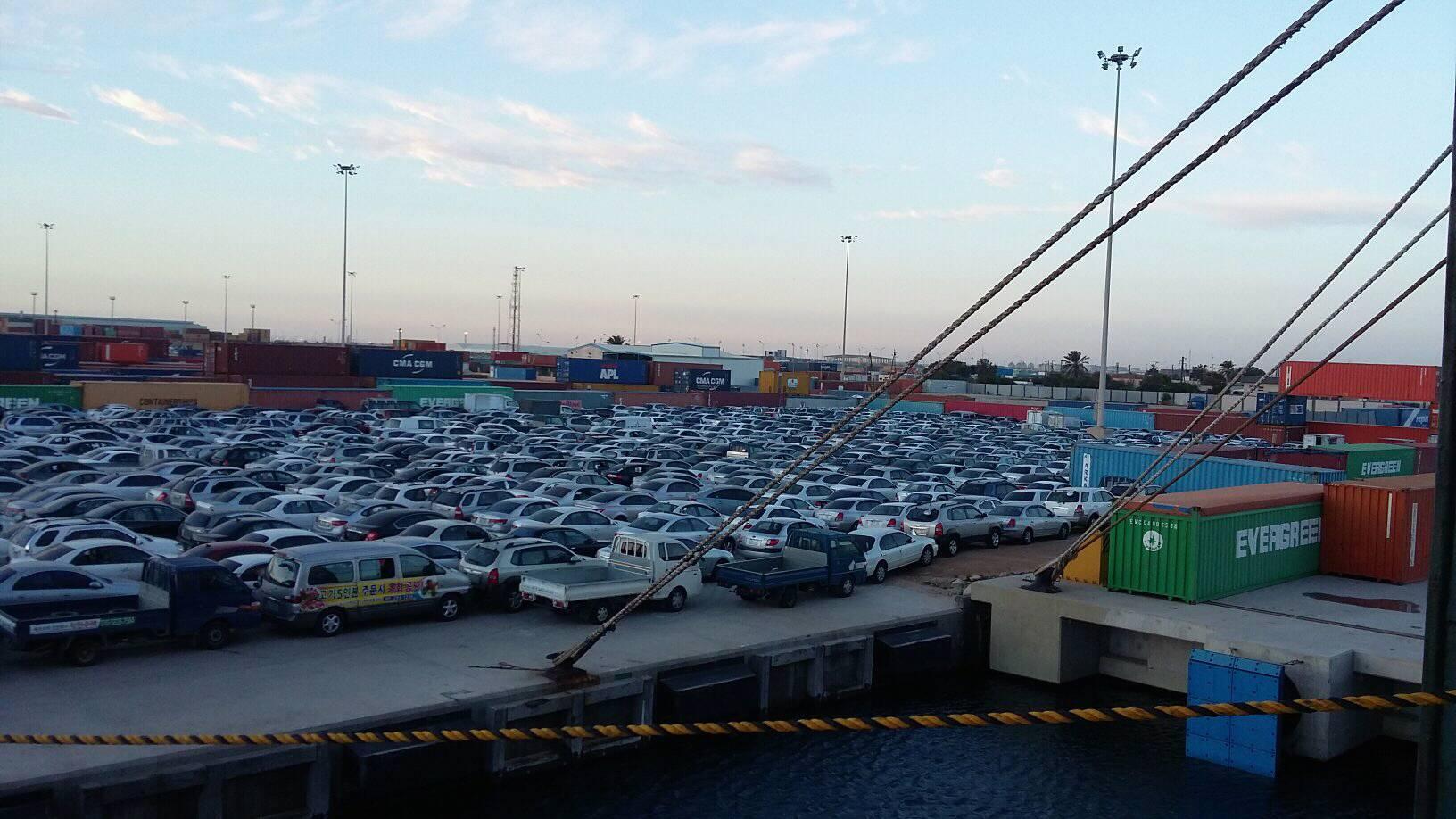 شحنة سيارات كورية - ميناء مصراتة