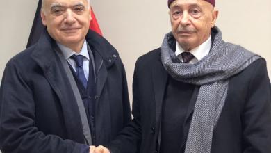 لقاء غسان سلامة مع عقيلة صالح