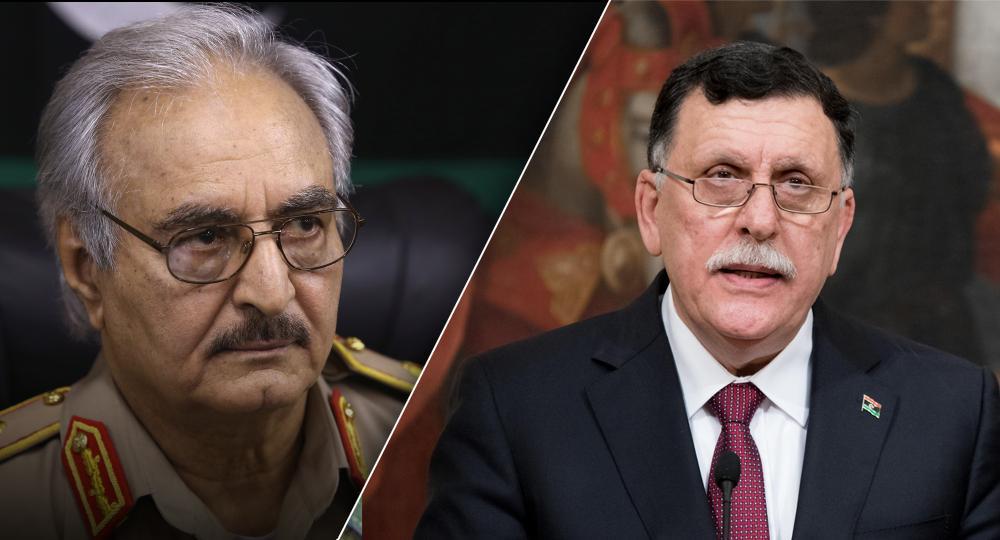 رئيس المجلس الرئاسي فائز السراج والمشير خليفة حفتر