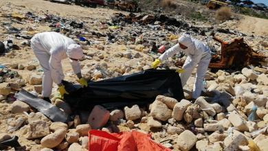 انتشال جثث مجهولة الهوية من الحرشة من قبل الهلال الأحمر الليبي