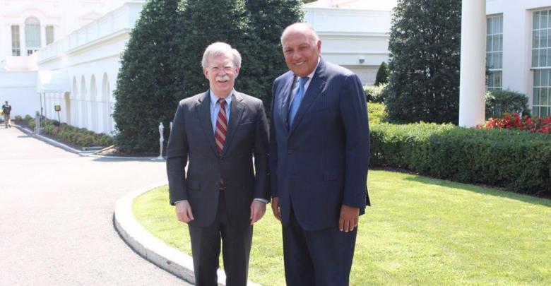 وزير الخارجية المصري، سامح شكري و مستشار الأمن القومي الأميركي جون بولتون