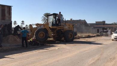 حملة تطوعية لصيانة شارع بمنطقة الهبارة - مصراتة