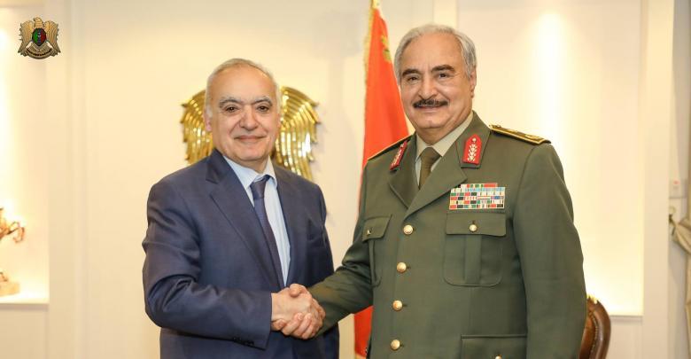 اجتماع قائد الجيش الوطني المشير خليفة حفتر مع ممثل الأمين العام للأمم المتحدة ورئيس بعثتها للدعم في ليبيا غسان سلامة