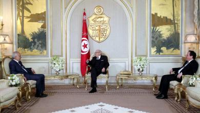 اجتماع الباجي قايد السبسي وخميس الجهيناوي مع غسان سلامة