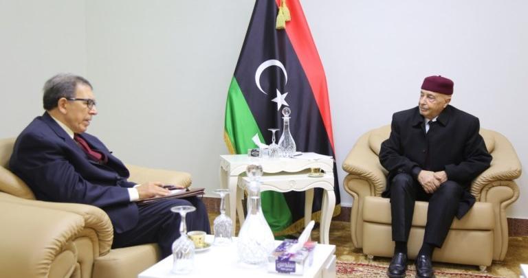 اجتماع رئيس مجلس النواب عقيلة صالح مع مبعوث الأمين العام لجامعة الدول العربية صلاح
