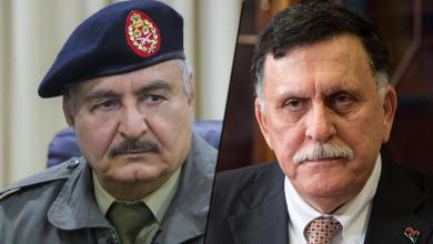 رئيس المجلس الرئاسي فائز السراج وقائد الجيش الوطني المشير خليفة حفتر