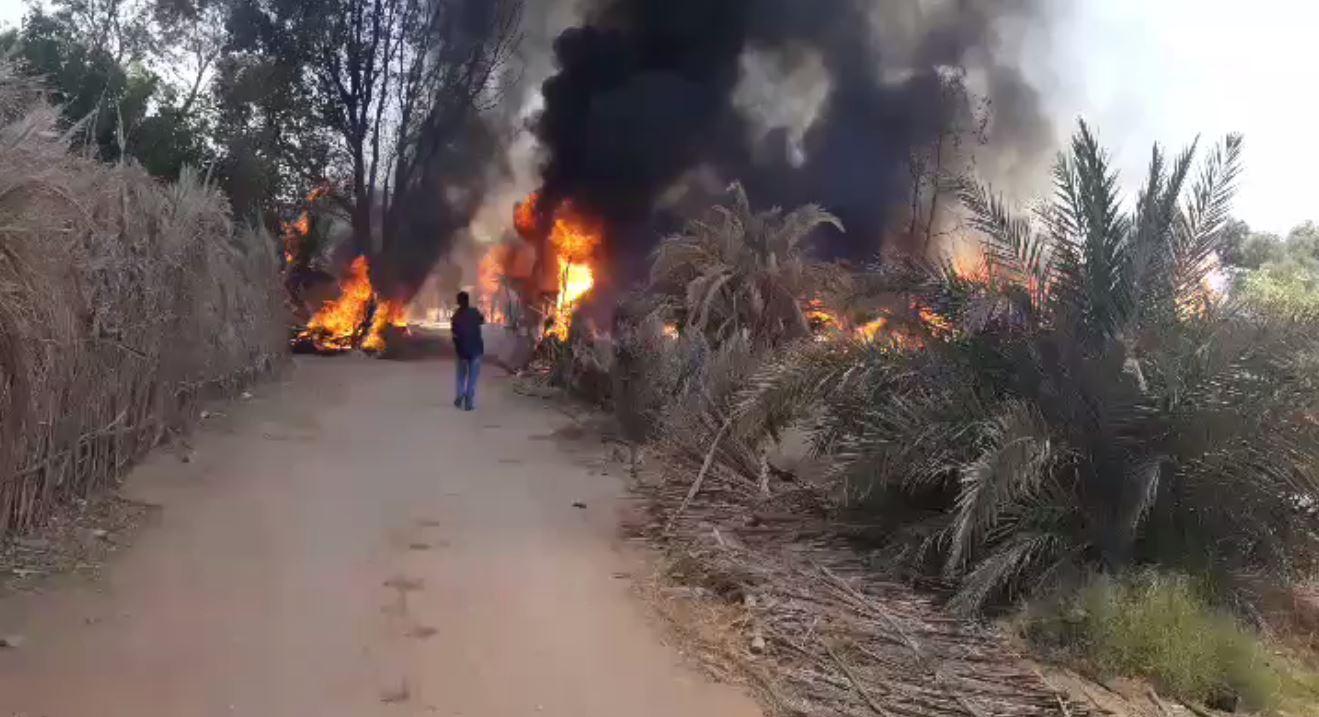 حريق في مزرعة ببلدة قبر عون مندرة - قبر عون الجديدة