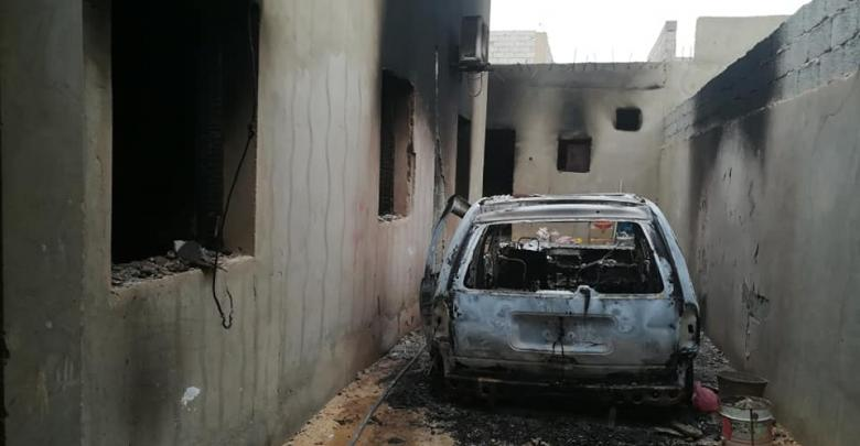 صورة أرشيفية لآثار الهجوم السابق لداعش على بلدة الفقهاء بمنطقة الجفرة