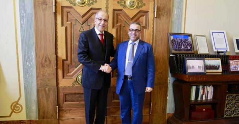 لقاء رئيس المجلس الأعلى للدولة خالد المشري مع محافظ مصرف ليبيا المركزي الصديق الكبير - طرابلس