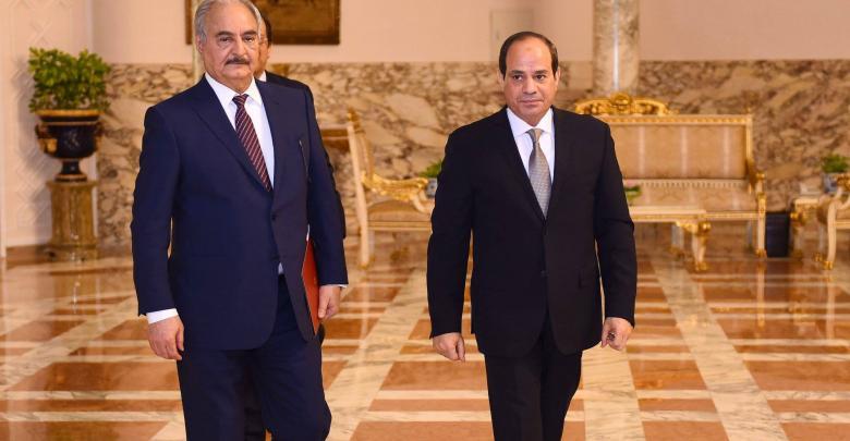 لقاء القائد العام للجيش الوطني المشير خليفة حفتر والرئيس المصري عبدالفتاح السيسي