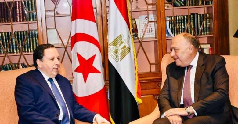 وزير الخارجية المصري سامح شكري ووزير الخارجية التونسي خميس الجهيناوي - أرشيفية