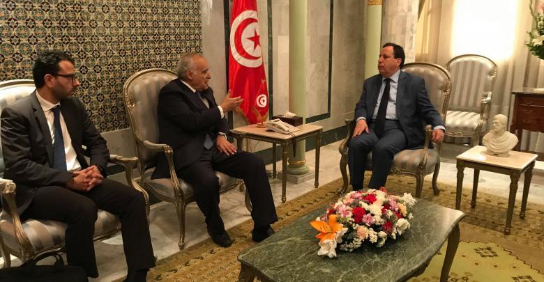 لقاء وزير الخارجية التونسي خميس الجهيناوي مع المبعوث الأممي لدى ليبيا غسان سلامة