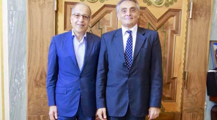لقاء السفير الإيطالي في ليبيا جوسيبي بوتشينو ومحافظ مصرف ليبيا المركزي في طرابلس الصديق الكبير