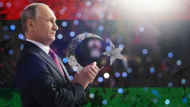 علم ليبيا - الرئيس الروسي فلاديمير بوتين