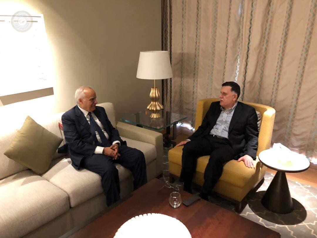 لقاء رئيس المجلس الرئاسي لحكومة الوفاق فائز السراج مع المبعوث الأممي غسان سلامة