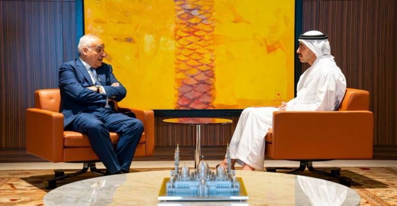 لقاء وزير خارجية دولة الإمارات العربية المتحدة الشيخ عبدالله بن زايد والممثل الخاص للأمين العام للأمم المتحدة غسان سلامة