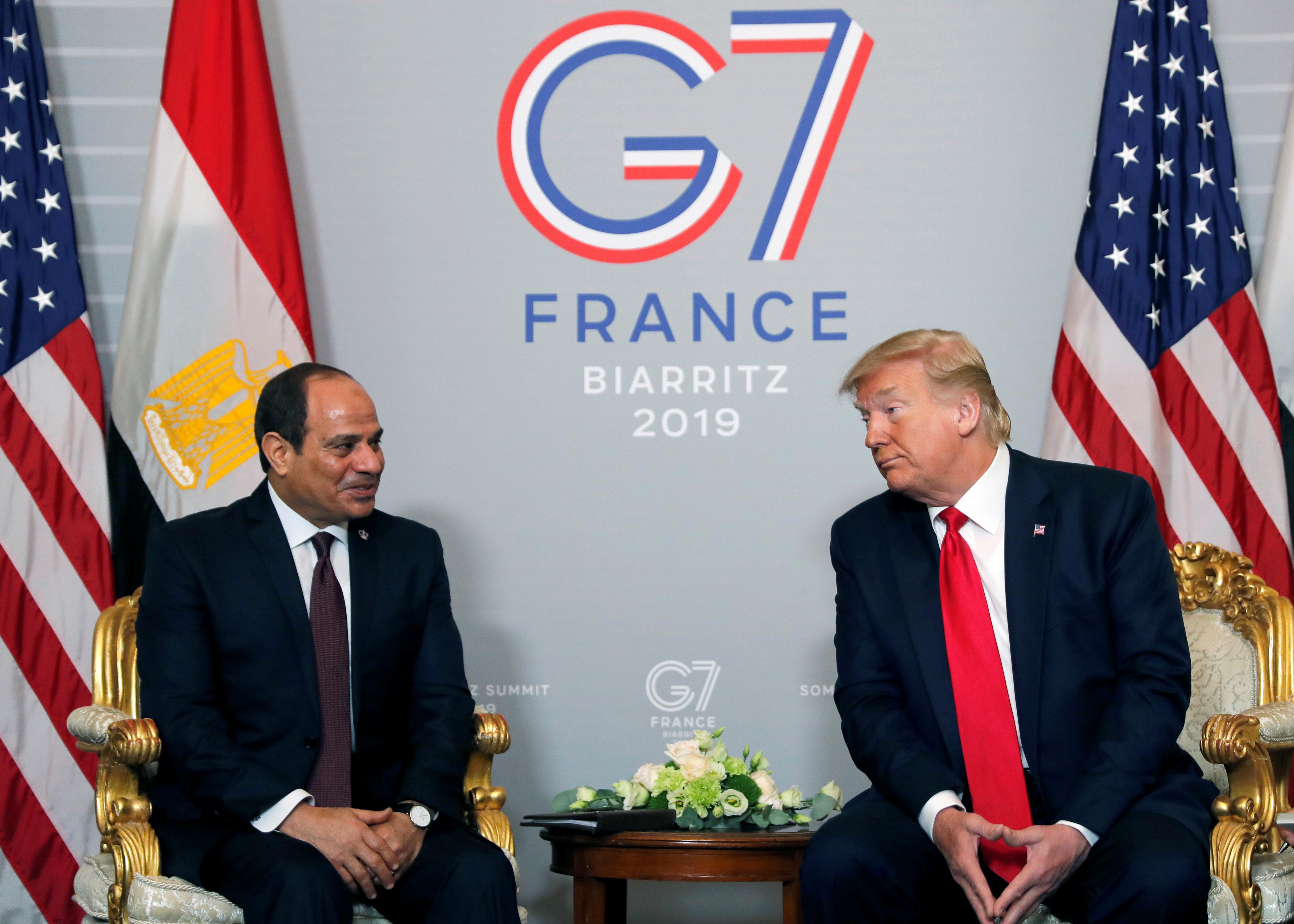 الرئيس الأمريكي دونالد ترامب والرئيس المصري عبدالفتاح السيسي - قمة الدول السبع