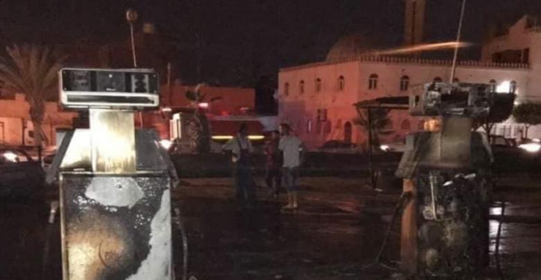حريق في محطة الوقود بمنطقة غوط الشعال في العاصمة طرابلس