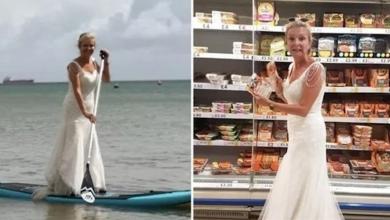 صورة عروس بريطانية تنتقم من فستان زفافها