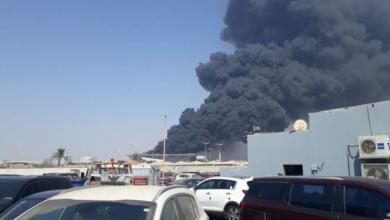 صورة حريق هائل يشب بمحطة قطار الحرمين في جدة