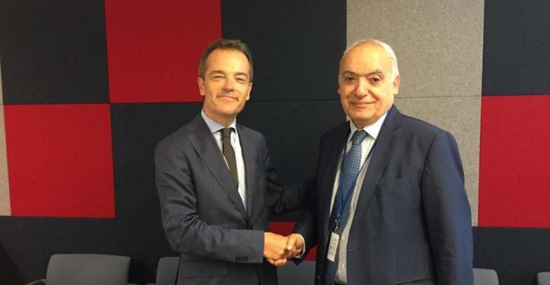 لقاء غسان سلامة بالمدير العام للشؤون متعددة الأطراف والعولمة في وزارة الخارجية البلجيكية اكسيل كينيس