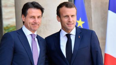 الرئيس الفرنسي إيمانويل ماكرون ورئيس الحكومة الإيطالية جوزيبي كونتي- صورة إرشيفية