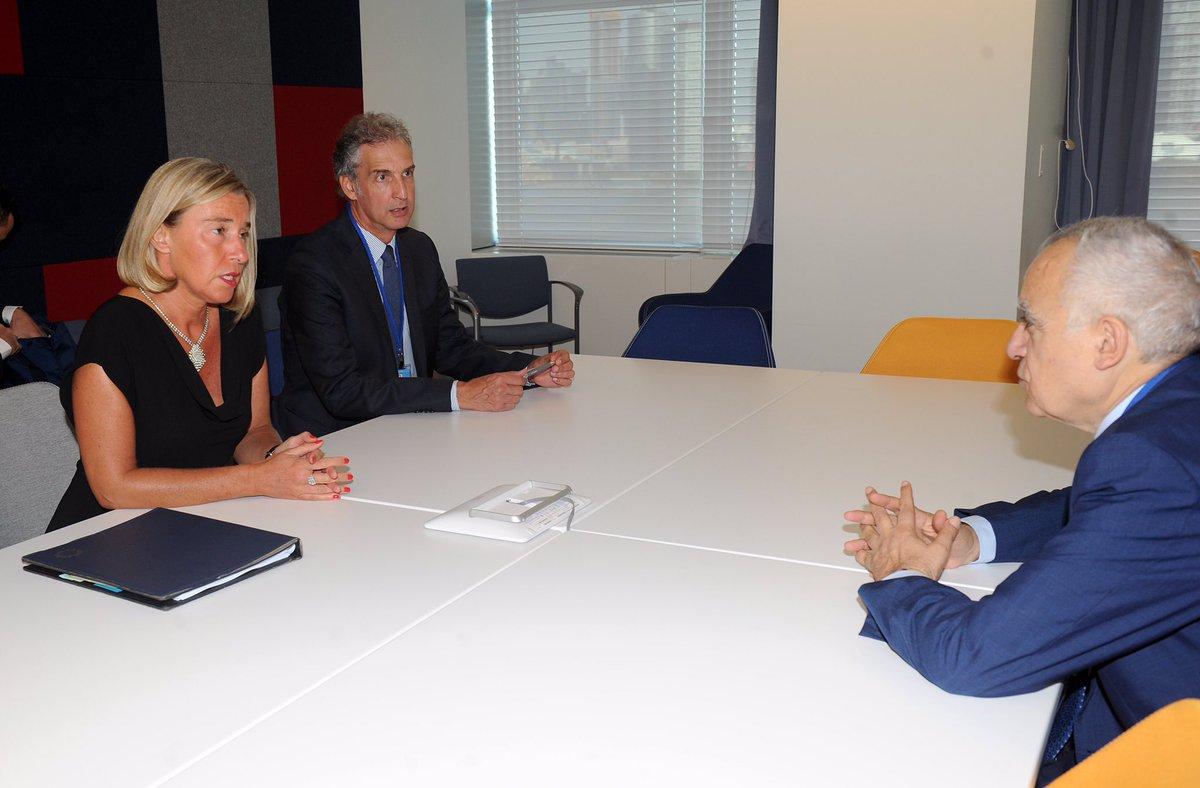 لقاء غسان سلامة بمسؤولة الشؤون الخارجية في الاتحاد الأوروبي فيديريكا موغريني