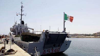 صورة دخول أول سفينة صيد إيطالية إلى المياه الليبية