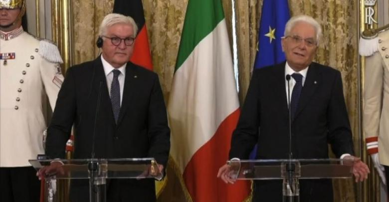 رئيس جمهورية إيطاليا، سيرجو ماتّاريلا ونظيره الألماني فرانك فالتر شتاينماير