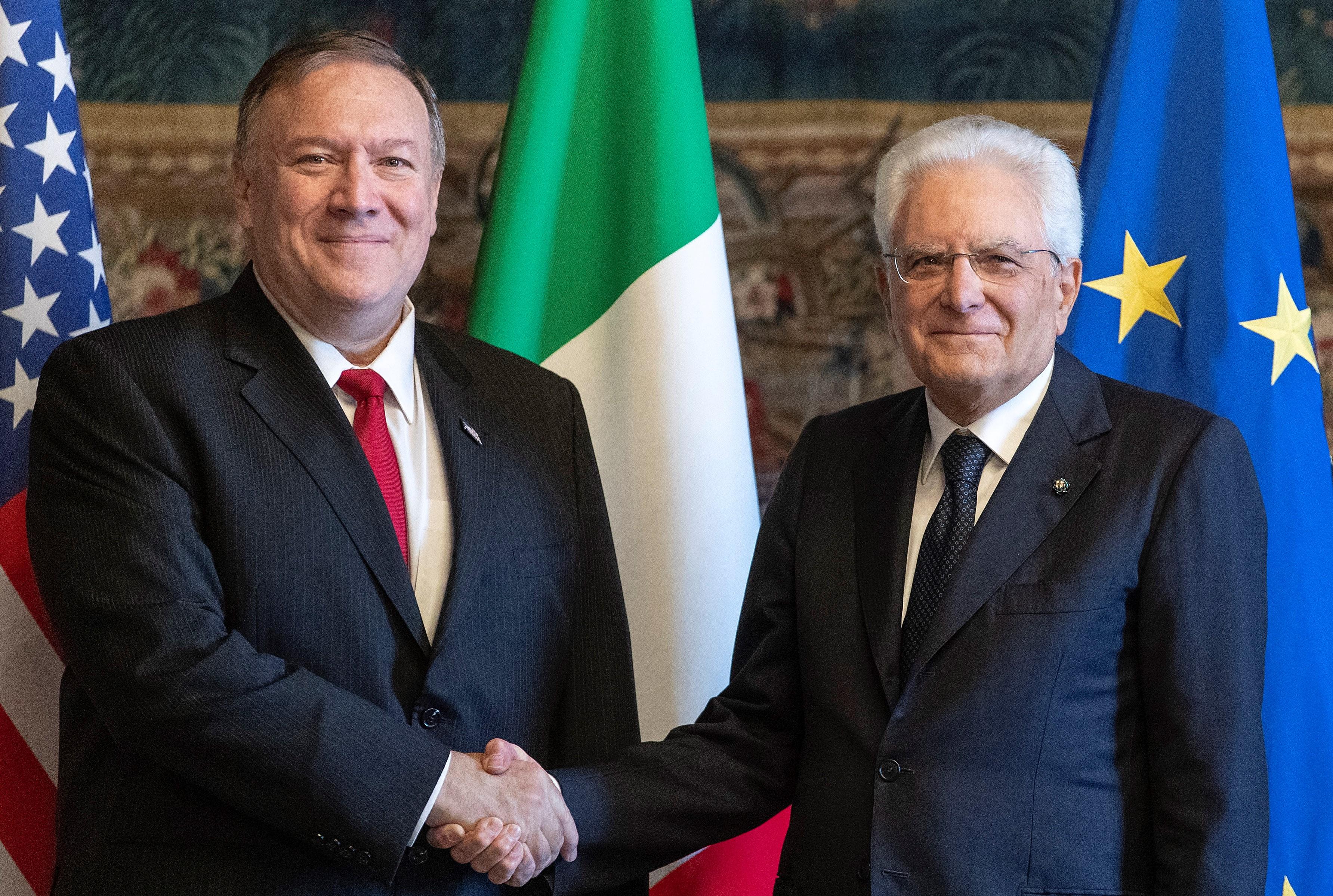 الرئيس الإيطالي سيرجو ماتاريلا - وزير الخارجية الأمريكي مايك بومبيو