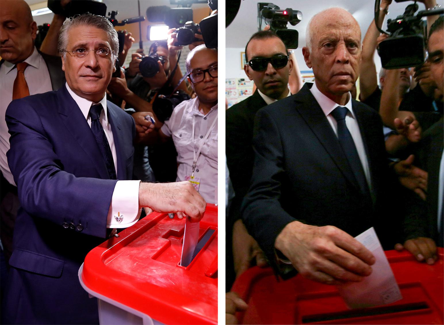 صورة هذا ما قاله قيس سعيّد ونبيل القروي بعد الانتهاء من التصويت الانتخابي