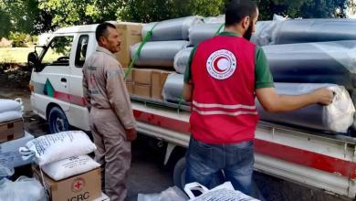 صورة الهلال الأحمر صبراتة يشرع في توزيع السلال الغذائية على النازحين
