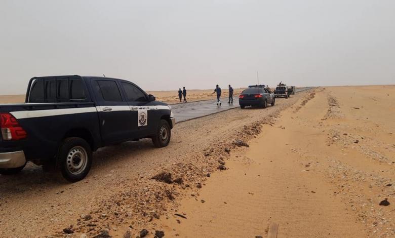 دوريات أمنية مشتركة لأمن سبها والشاطئ والبوانيس بمفرق دار براك