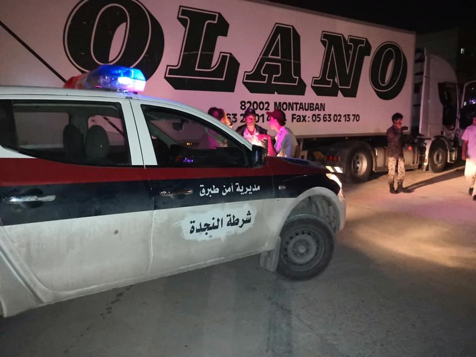 أمن طبرق يضبط شاحنة قادمة امساعد البري دون إجراءات جمركية