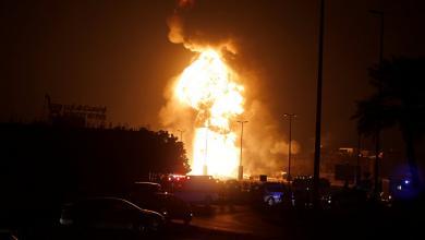 حريق الدلتا في مصر بسبب تسريب في خط نقل الغاز الذي يغذي الاسكندرية