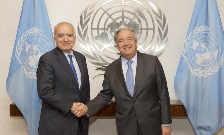 الأمين العام للأمم المتحدة أنطونيو غوتيريش والمبعوث الأممي إلى ليبيا غسان سلامة