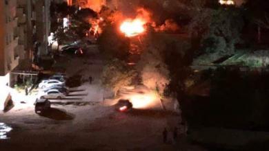 صورة متداولة للقذائف العشوائية التي سقطت في محيط عمارات صلاح الدين بـ طرابلس