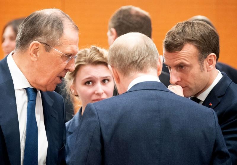 لافروف- بوتين- ماكرون- مؤتمر برلين