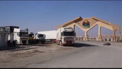 صورة وصول 526 شاحنة محملة بالسلع عبر منفذ امساعد