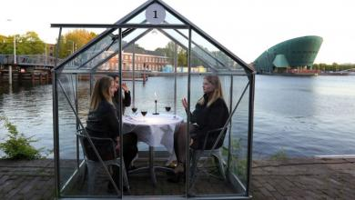صورة زبائن في بيوت زجاجية.. مطعم هولندي في زمن كورونا