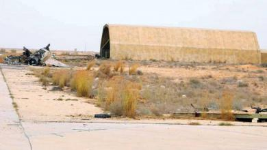 """صورة غارات جوية قرب قاعدة الوطية لـــ""""طيران مجهول"""""""