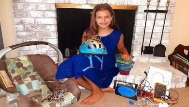 صورة طفلة تبتكر مقعدا لحماية الأطفال في السيارات