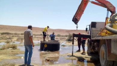 صورة إنهاء عملية صيانة إحدى المحطات النهر الصناعي جنوب بني وليد