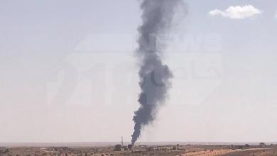 صورة انفجار كبير على طريق مطار الزنتان (صور)