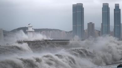 """صورة بعد اجتياح اليابان.. إعصار """"هايشين"""" يتجه لكوريا الجنوبية"""