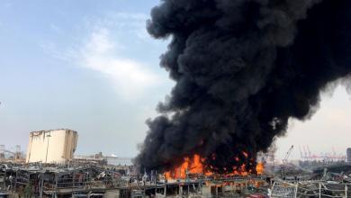 صورة اندلاع حريق جديد في مرفأ بيروت.. والدفاع المدني يتدخل
