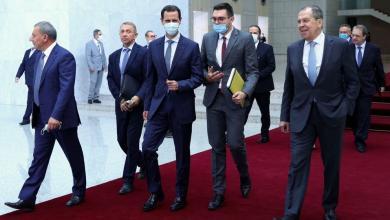 صورة لافروف يبحث مع الأسد عددا من الملفات الساخنة