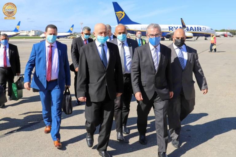رئيس مجلس النواب عقيلة صالح والوفد المرافق له يصلون فاليتا في زيارة رسمية لجمهورية مالطا