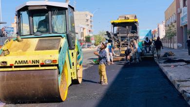 رصف شارع طرابلس في مدينة اجدابيا